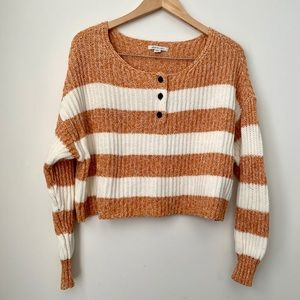 American Eagle Striped Cropped Henley Sweater